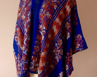 "Mexican cotton rebozo bluson blouse handwoven cobalt blue /orange red Coastal Oaxaca boho resort Frida Kahlo 43"" wide x 26"" long"