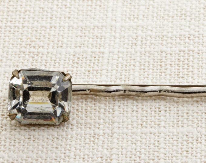 Emerald Cut Rhinestone Silver Hair Clip Embellished Bobby Pin Handmade in USA Hair Pins 16V