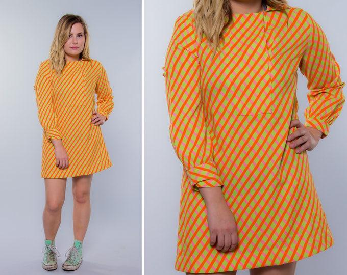 1960s Vintage Neon Tunic Dress | Size Medium to Large | Orange Green Yellow 4BB
