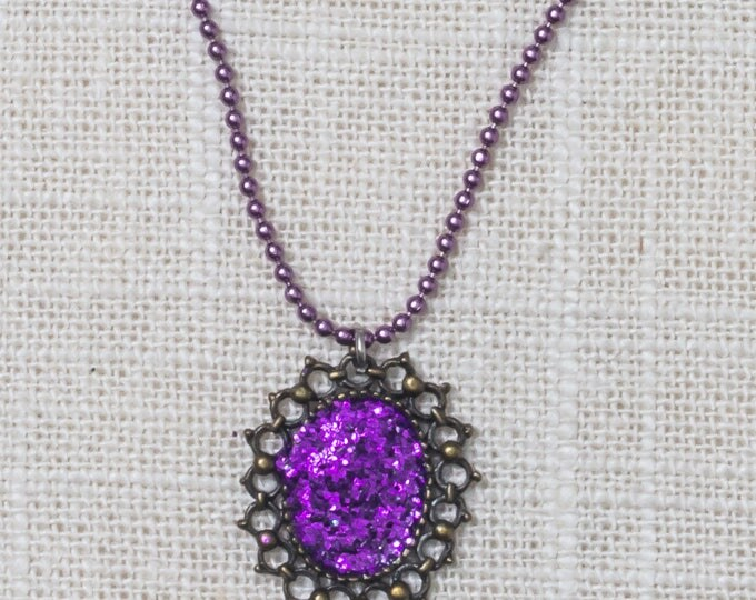 Purple Glitter Sunburst Handcrafted Necklace Brass Small Bead Colorful Chain 7HH