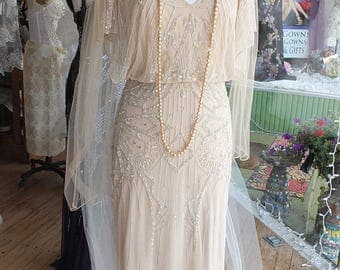Vintage inspired 1920s flapper beaded wedding dress