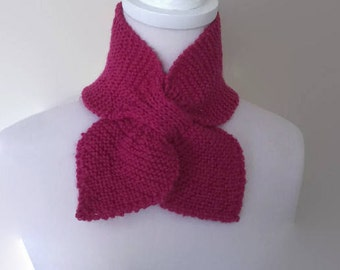 Pink Pure Wool Bow Tie Scarf Ascot
