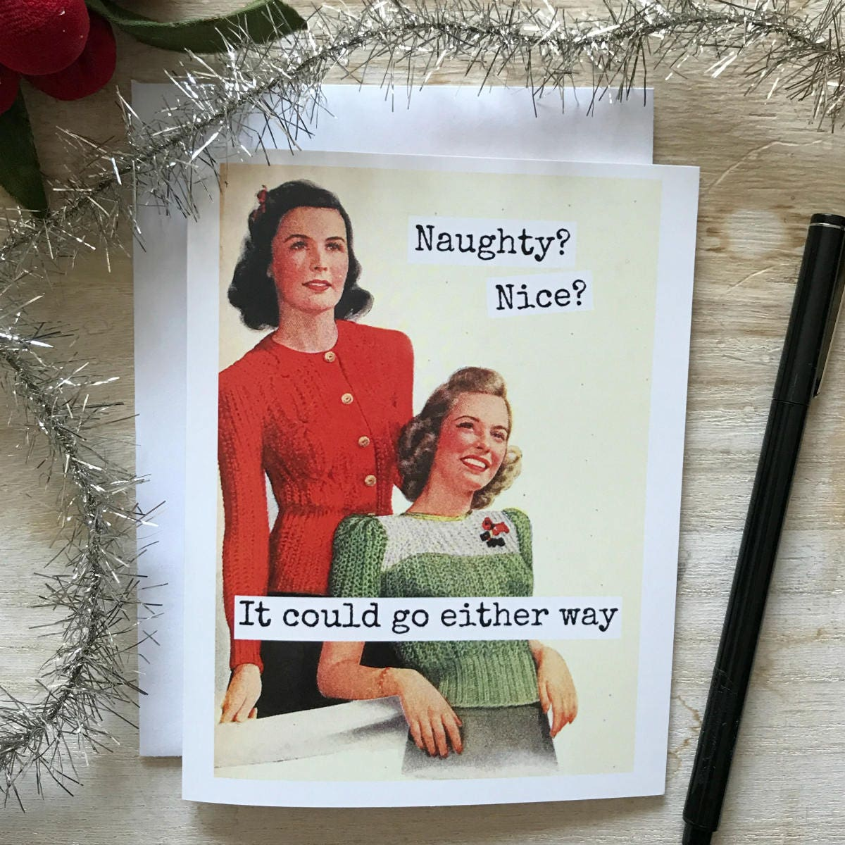 Funny Christmas Card / Naughty? Nice? It Could Go Either Way / #C38 /  Vintage Card / Greeting Card / Vintage Photo / Christmas Quote