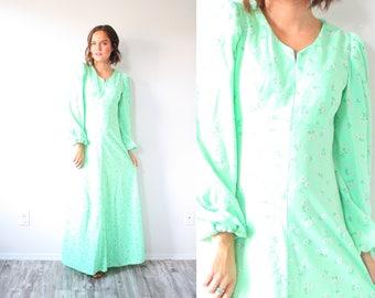 Vintage boho bright green floral garden dress // maxi summer dress // floral lime green navajo boho green dress // modest long sleeve
