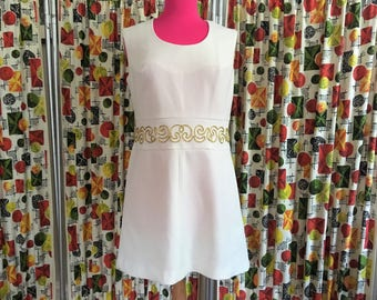 Vintage 60s 70s Ivory Mini Dress with Gold Braid Detail at Waistband, medium