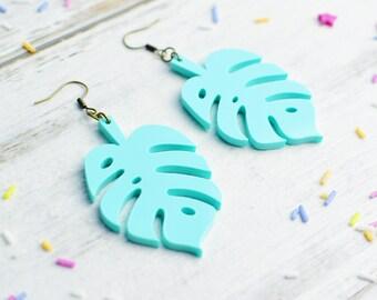 Cheese Plant Earrings in Pastel Mint Green | Nickel Free Earrings | Monstera Dangle Earrings | Statement Jewellery | Plant Lover Gift