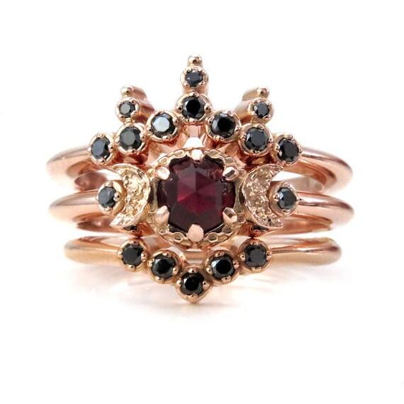 Blood Moon Boho Engagement Ring Set - Rose Cut Garnet with Black Diamond Side Bands