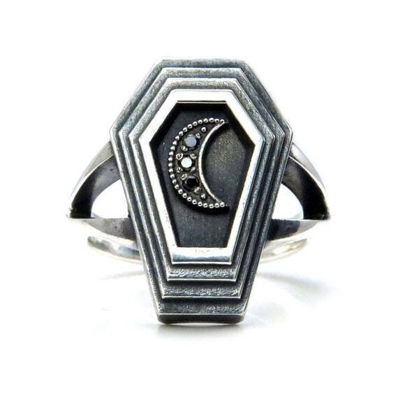 Dark Moon Coffin - Sterling Silver Mourning Ring with Black or White Diamond Crescent