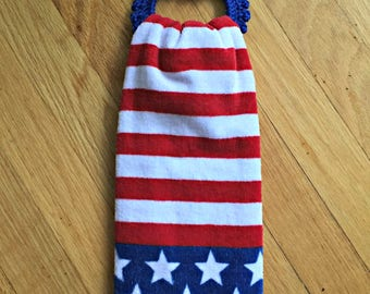 Crochet Towel Holder with towel, Kitchen Towel/holder, 4th of July Towel and Holder