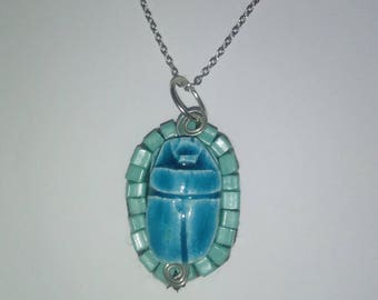 Egyptian Faience scarab necklace. Faience jewelry.