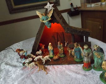 Antique Nativity .Christmas decoration .Jesus birth scene. Excellent vintage condition. 17 pieces and stable . Hand painted .