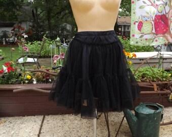 Vintage Black Crinoline Slip Size 8