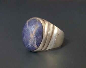 Vintage Sodalite Men Ring Sterling Taxco Size 12 Signed