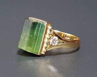 18k Green Tourmaline Diamond Ring Vintage Tourmaline Ring Size 6
