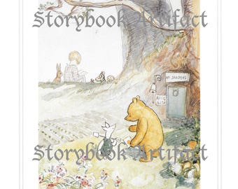 1967 E.H. Shepard Digital Art, Winnie-the-Pooh Print, A.A. Milne House at Pooh Corner Christopher Robin Piglet Printable Wall Decor Download