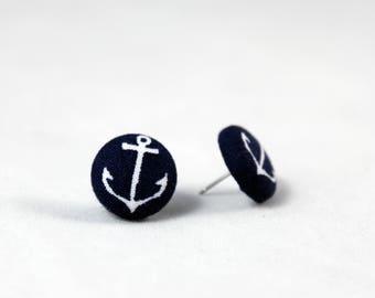Handmade Fabric Button Earrings Navy Anchor Earrings - Nautical Theme Earrings -Fabric Covered Button Earrings