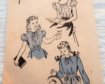 Vintage Advance Sewing Pattern #4035 Sz 6, 24 Breast, 1940s Child's BLOUSE