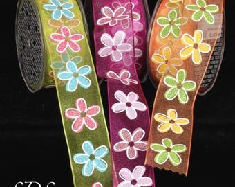 Spring Flower Power Ribbon, 70's style Sheer, Wired, Glittery Ribbon, Lime Green, Fuchsia, Orange, Hippies, 1970's Floral Style Print, Sheer