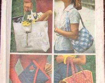 Vintage 1970s Craft Sewing Pattern Simplicity 7004 Shoulder Bags, Boho Hobo Totes, Quilted Reusable Market Bags, Envelope Clutch Uncut FF