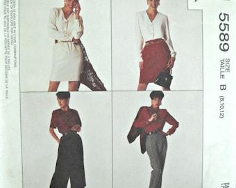 McCall's 5589, Misses Skirt, Split-Skirt and Pants Pattern, Sizes 8, 10, 12, Factory Folded Uncut, Vintage 1991