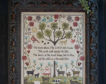 NEW A Thousand Hills counted cross stitch patterns by Plum Street Samplers at thecottageneedle.com