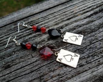 Gypsy Earrings, Suicide Squad, Harley Quinn Cosplay, Queen of Hearts, Gothic Earrings, Card Earrings, Stregheria, Red Black Earrings