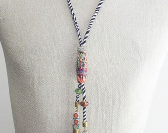 Tribal necklace, rope necklace, cord necklace, tribal jewelry, tribal bead, tassel jewelry, crystal beads, tribal rope, high fashion
