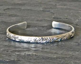 Silver Cuff Bracelet - Open Bangle - Sterling Silver Stacking Bracelets - Bridesmaids Gift Bracelet - Gift for Her - Open Bracelet Cuff