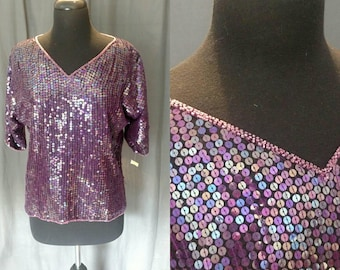 1980s Vintage Purple Cocktail Blouse by Jewel Queen - Silk and Sequins with a Beaded V- Neckline Top - Size Medium- 80s Lady