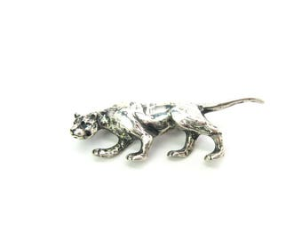 Panther Brooch. Sterling Silver Big Cat. Cast Jewelry Signed STC. Sleek Cougar, Mountain Lion, Puma. Vintage 1980s Figural Animal