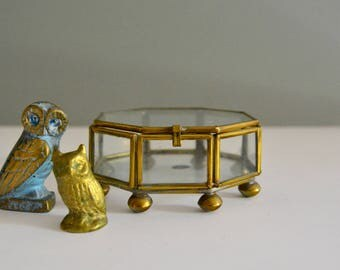 Glass and Brass Geometric Box - Octagon Display Container