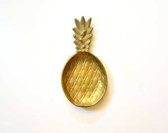 Brass Pineapple Tray - Trinket Dish Catch All Shiny Gold Mid Century Home Decor Ring Jewelry Holder
