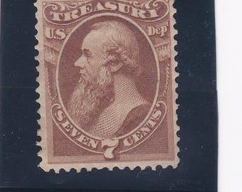 Unused 1873 Official 7 Cent Stanton Treasury US Postage Stamp Very Rare