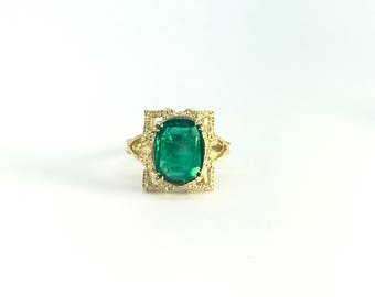 Genuine Cushion Cut Emerald 14k Yellow Gold Ring - Yellow Gold Emerald Ring