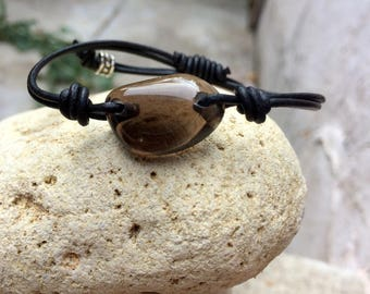 Apache Tear and Leather Bracelet