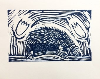 Limited edition Hedgehog relief print