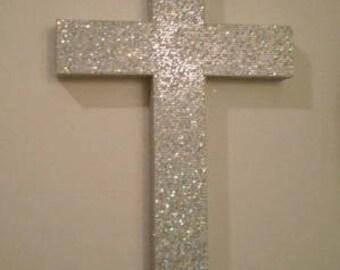 """SILVER GLITTER Wall Cross- Decorative, Super Sparkling Octagon/Prisma Glitter- 9.5"""" or 12"""""""