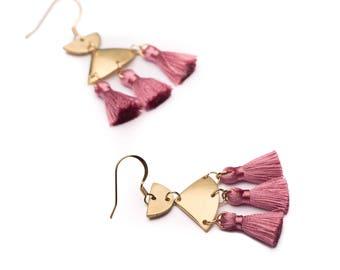 Tassel earrings - Pink tassel earrings - Mini tassell - Nickel free gold hooks + brass mini tassel earrings - Pink accessories