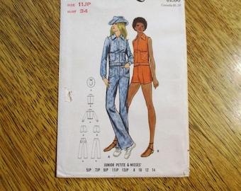 "FUNKY 1970s Jean Jacket, Bell Bottom Jeans, Shorts & Cowboy Hat - Junior Size 11 (Bust 34"") - UNCUT Vintage Sewing Pattern Butterick 6217"
