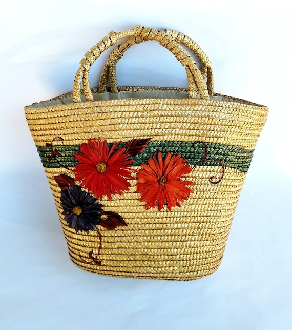 Vintage 1970's Straw Handbag with Colorful Floral Design