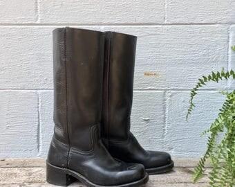 7.5 M  1990's Vintage Black Leather Frye Campus Boots