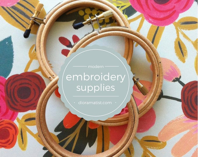 """Featured listing image: 3"""" embroidery hoops - set of 3  - embroidery supply - wooden hoop 3 """""""