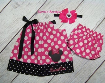 Personalized Minnie Mouse Outfit / Pink & Black / Disney Vacation / Birthday / Newborn / Infant / Baby/ Girl / Toddler / Boutique Clothing