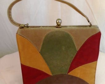 Vintage 1960s Purse Color Block Top Handle Bag Fall Colors Kelly Bag