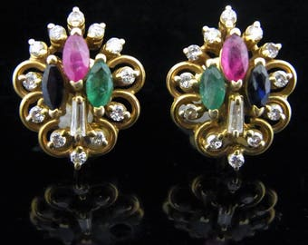 Vintage Diamond Ruby Sapphire Emerald 14k Yellow Gold Earrings Estate LAYAWAY AVAILABLE