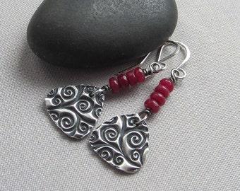 Ruby Red Earrings/ Fine Silver Earrings/ Red Agate Earrings/Texturized Silver Earring/ PMC fine Silver Earrings/ Artisan Earrings/Christmas
