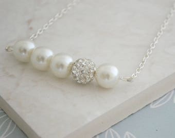 Cream Bridesmaids Necklace • Cream Glass Pearl and Rhinestone Necklace, Glass Pearl and Rhinestone Bead Necklace • Gift for Her • UK Seller