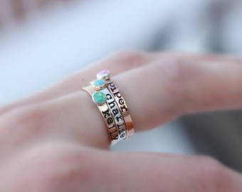 HAND STAMPED OPAL Ring - Silver. Rose Gold. Gold - Hand Stamped Birthstone Ring - Stacking Gemstone Ring - Personalized Rings kids name ring