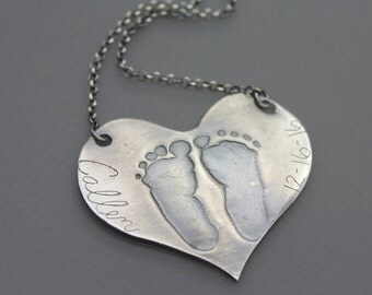 Footprint Necklace, Baby Footprints, Mommy, Baby Footprint Jewelry, Footprint Jewelry, Finger Print Jewelry, Shower Gift, Baby, Custom Print