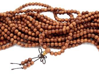 Sandalwood Beads, 108 Mala Beads, 8mm Sandalwood, Natural Aromatic, Boho Yoga Prayer Beads